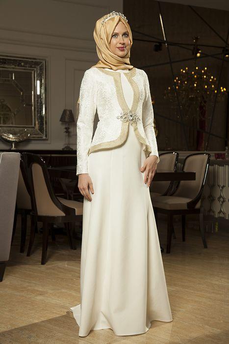 5c775d33b34a5 Azra Özer Ekru Ceren Tesettür Abiye Elbise   hijab clothes ...