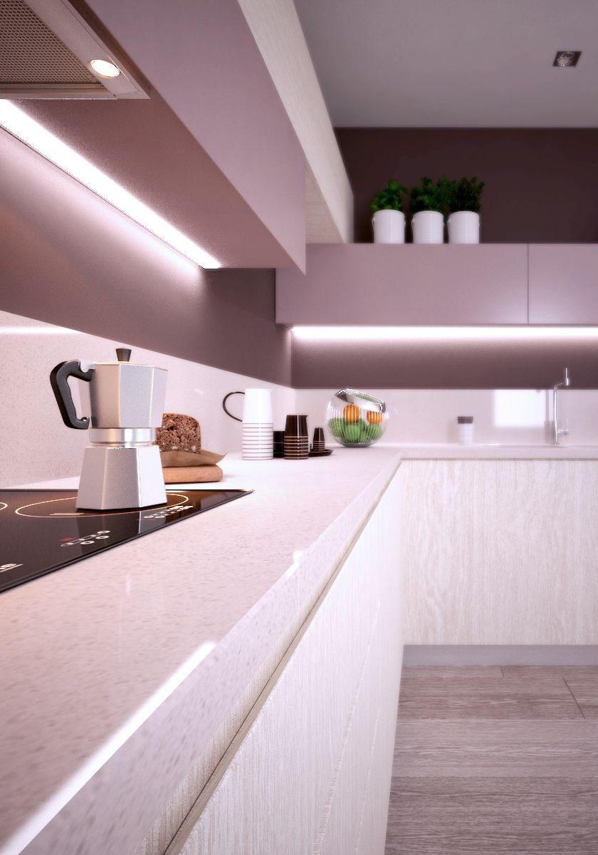 Modern l shaped kitchen design with marble top kitchen countertops