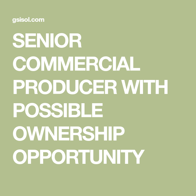 Senior Commercial Producer With Possible Ownership Opportunity