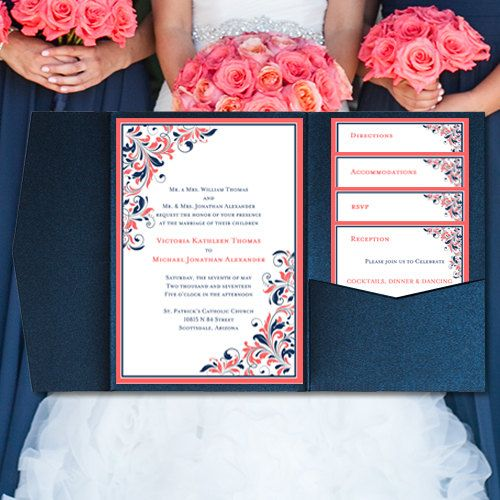 Coral Colored Wedding Invitations: DIY Pocketfold Wedding Invitations Kaitlyn By