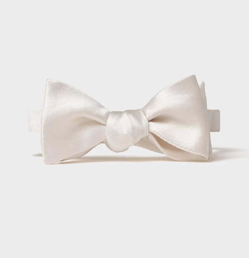 White Satin Butterfly Bow Tie White Bow Tie White Satin White Bow