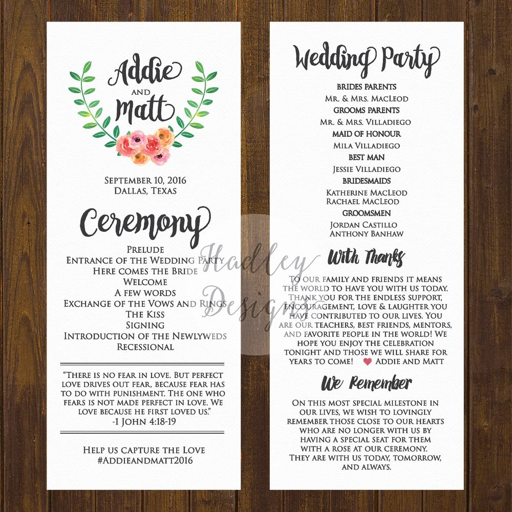 Wedding Programs Ceremony Program Ideas Sample