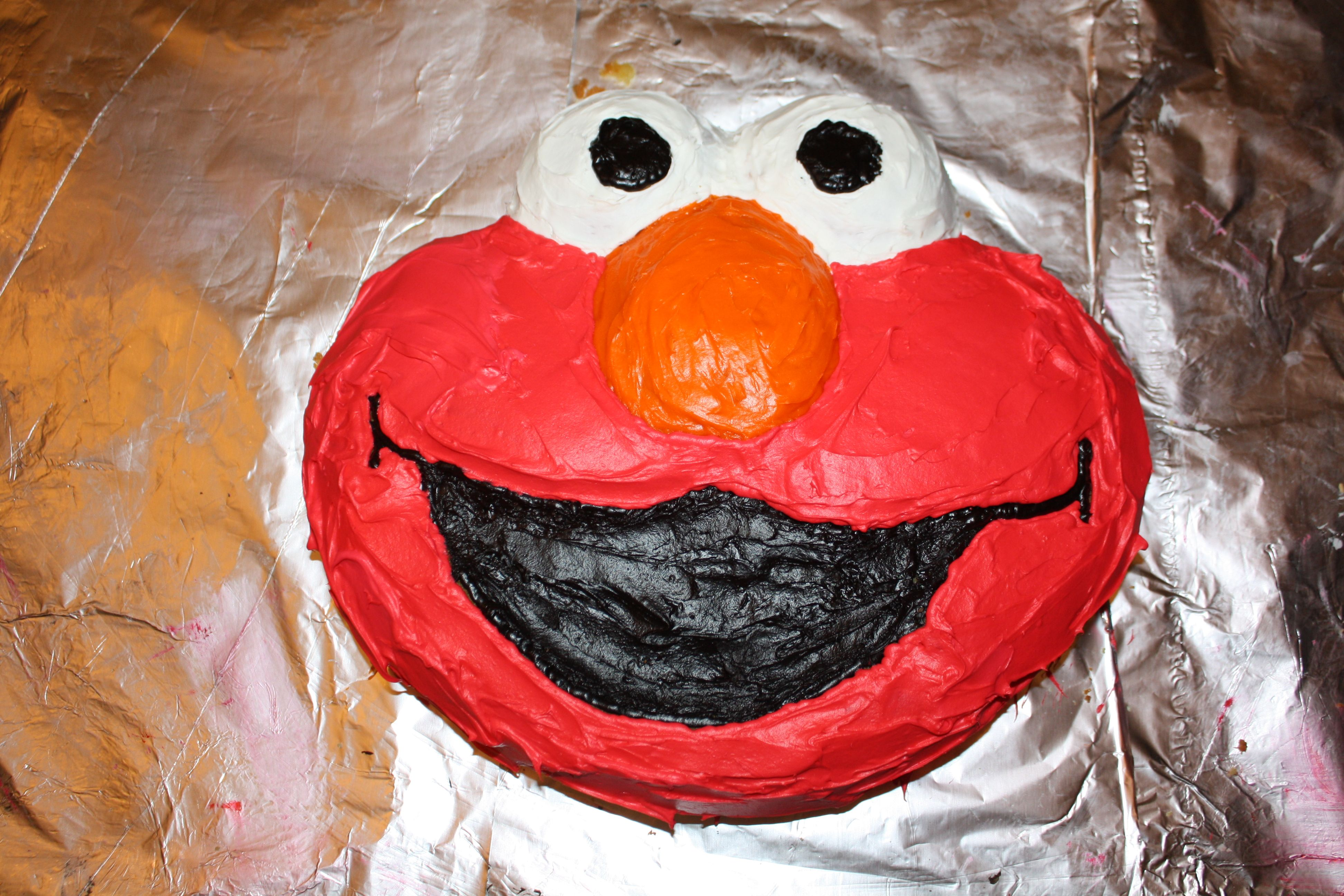 Elmo cake pan from Michael\'s used Wilton food coloring to ...