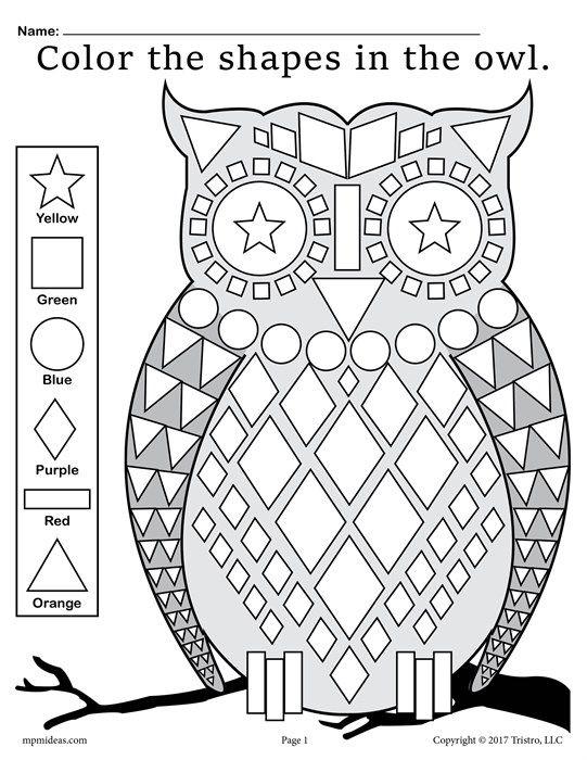 FREE Fall Themed Owl Shapes Worksheet & Coloring Page! | ayuda para ...