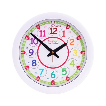 Easyread Time Teacher Children S Wall Clock Showing 12 24 Hour Digital Time Learn To Read Digital Time On An Analogue Clock Wall Clock Clock Rainbow Wall