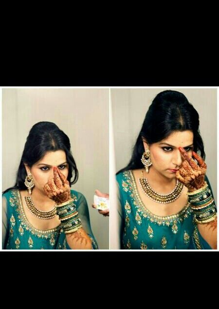 Indian bride getting ready for wedding