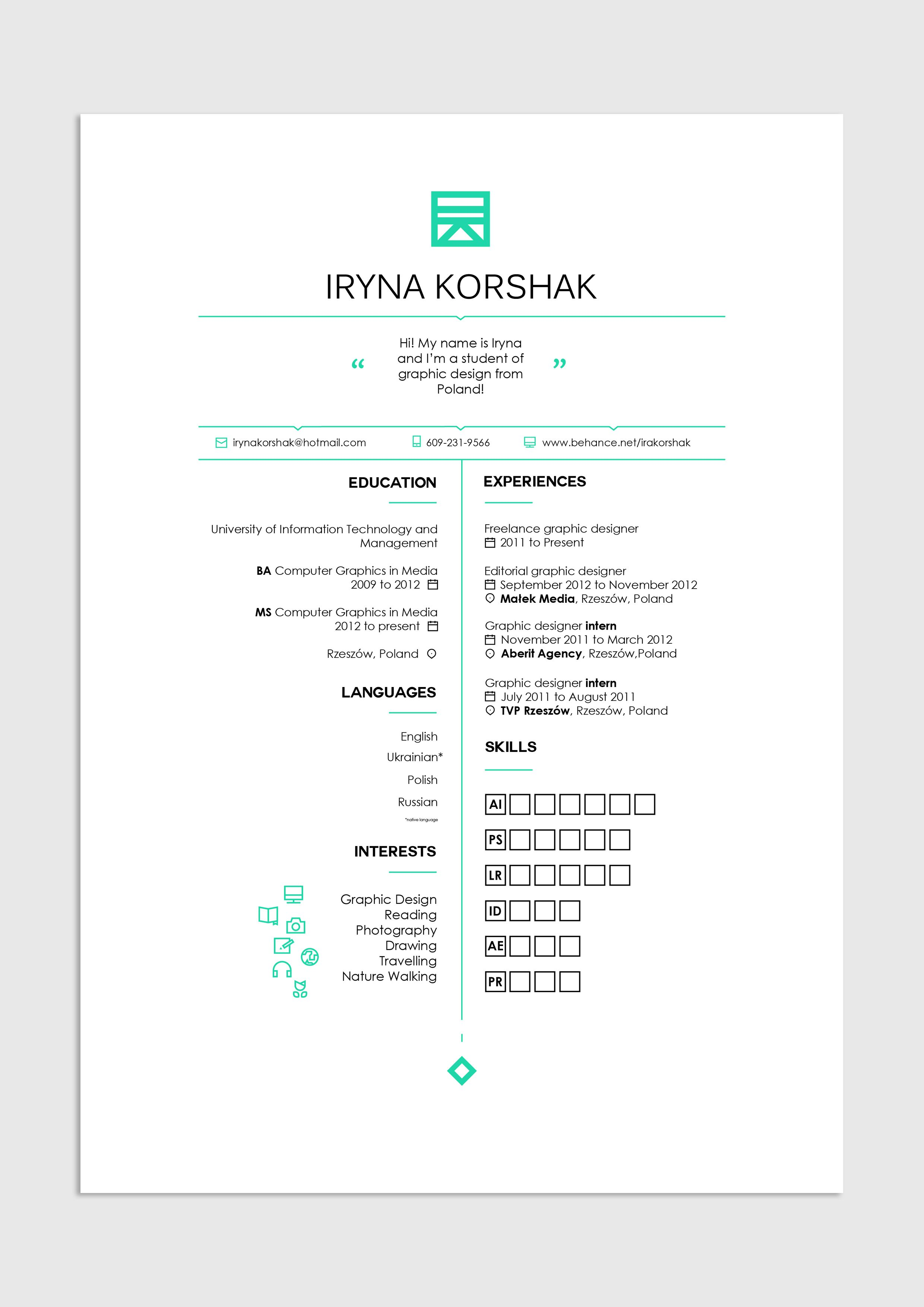 Graphic Design Editorial Layout Resume Cv Job Work Clean