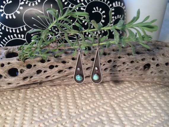 c7f90e6a0503 Handcrafted Turquoise Sterling Silver Earrings   Vintage 1960s Handmade  Jewelry   60s Natural Turquoise Gemstones   Navajo Inspired Earrings