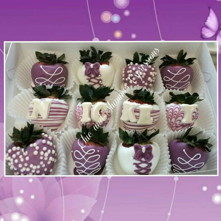 Purple Chocolate Covered Strawberries Chic And Shimmer