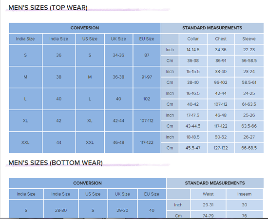 Size Chart Guide By Different Apparel Brands For Men And Women Apparel Products Women Clothing Boutique Clothes For Women Size Chart