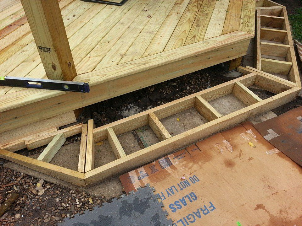 Cascading deck stair box framing details deck design for Steps to start building a house