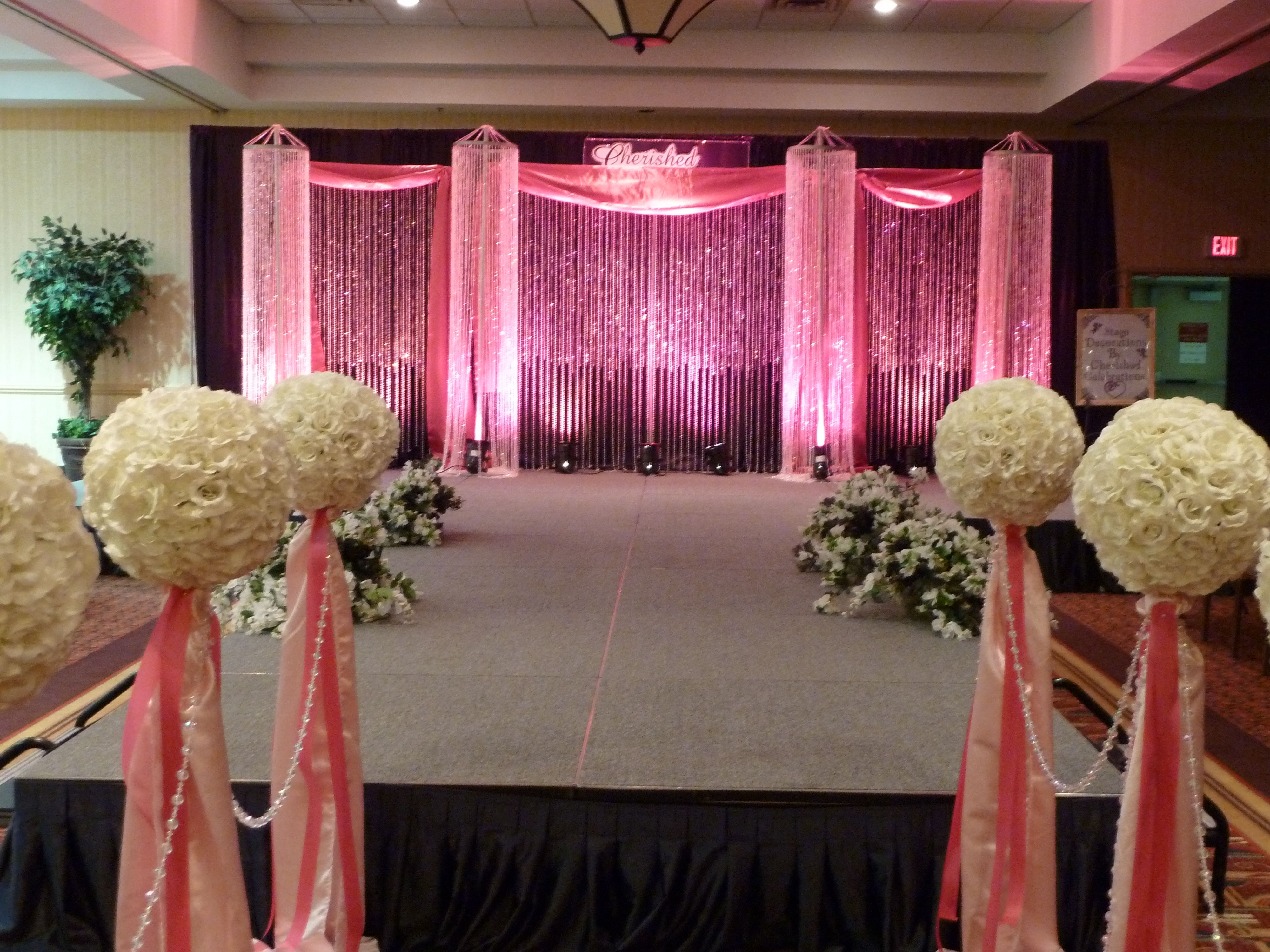 Stage decor for the bridal fashion show/ crystal beaded backdrop ...