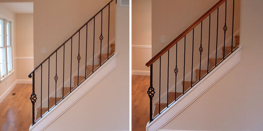 Add A Wood Handrail To Your Wrought Iron Balustrade Stair | Iron Railing With Wood Handrail | Stair Systems | Stair Parts | Metal | Stair | Staircase