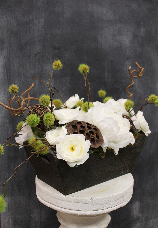 Woodland Whites Silk Flowers Arrangement White Silk Flower