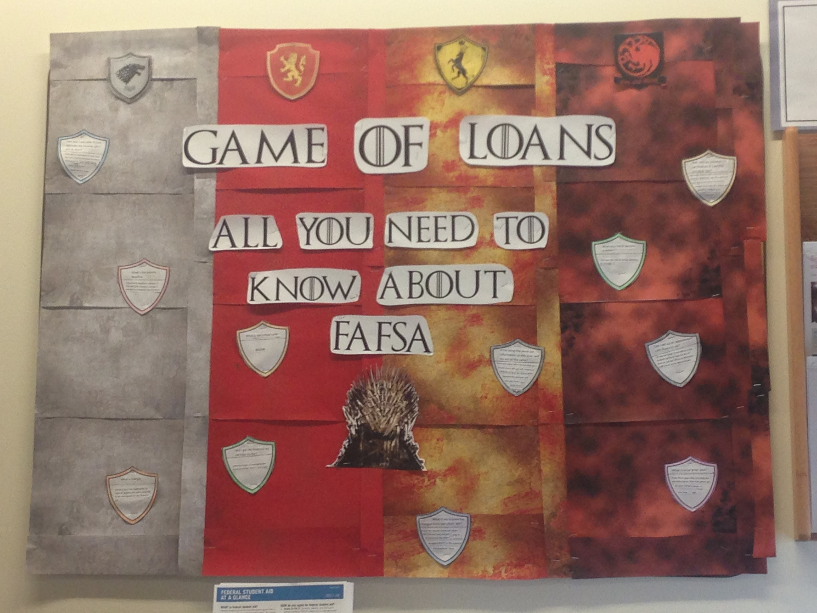 No Spoilers My Sister Works In The Financial Aid Office Of Her School She Made This Bul Ra Bulletin Boards Financial Literacy Bulletin Board Bulletin Boards