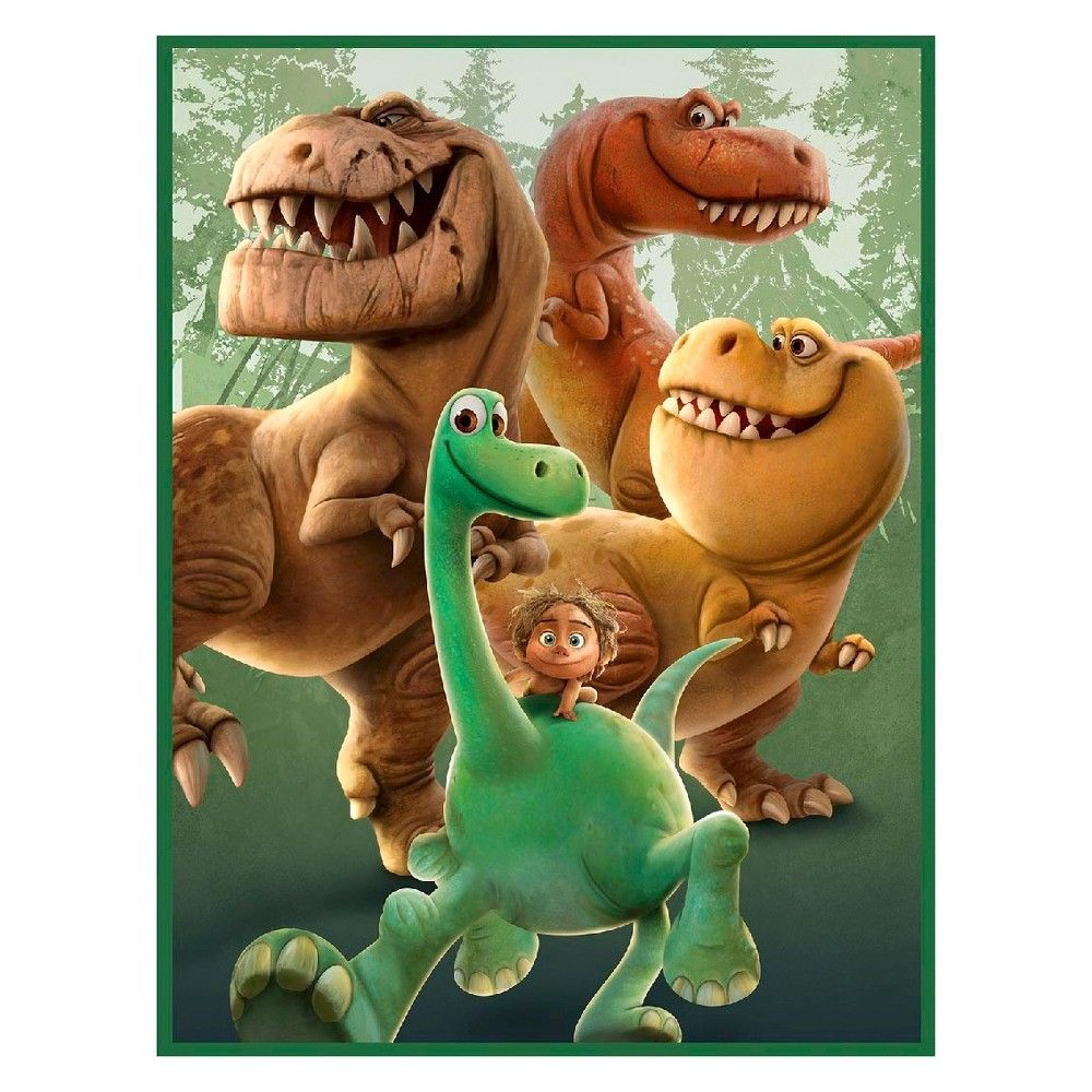 Disney Spot And Dinosaur Friends, No Sew Micro Fleece Throw Kit, Teal (Blue), 43 Finished Width