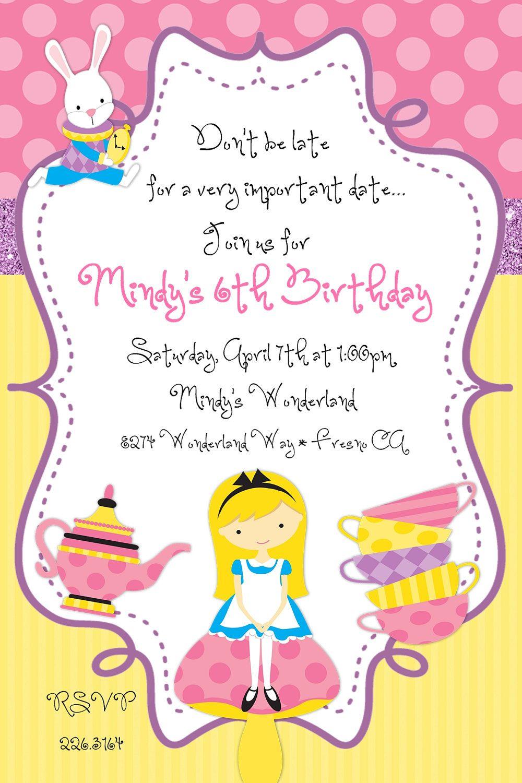 Alice in Wonderland Tea Party Birthday Invitation. $12.50, via Etsy ...