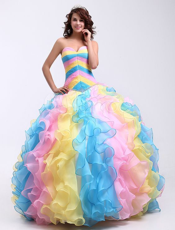 Colourful Rainbow Prom Dresses | prom dress | Pinterest | Rainbow ...