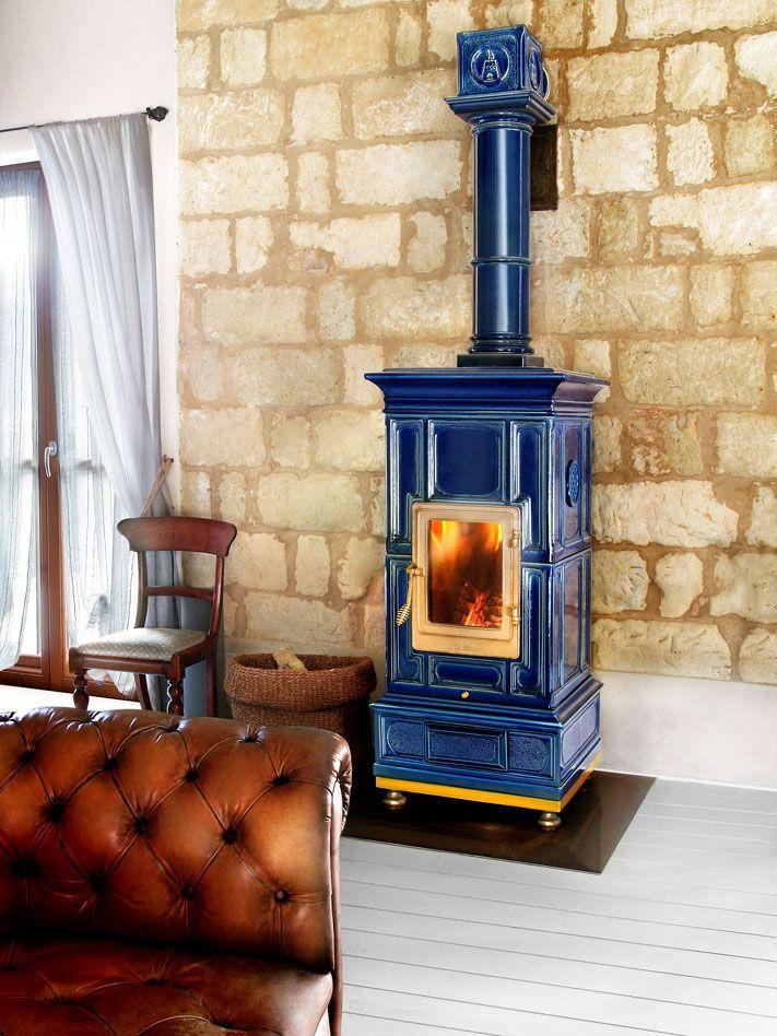 Wood Heating Stove Traditional Earthenware Ceramic Vienna La