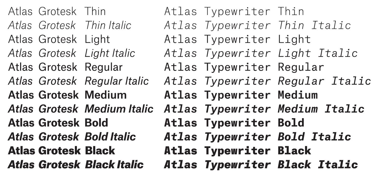 The Atlas Grotesk and Atlas Typewriter family   Typography   Type