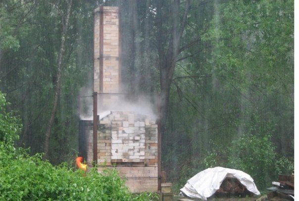 Debbie Mason's 24 cu. ft. Olsen Fast Fire wood-fired kiln, Greengate Pottery, MA  Firing in a hailstorm!