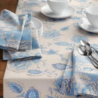 Blue Palampore Anika Tablecloth With Images Table Linens