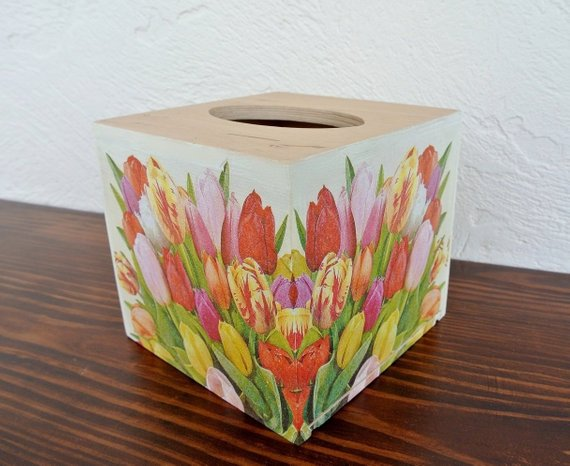 Red Poppy Tissue Box Cover Holder square wooden handmade decoupaged uk