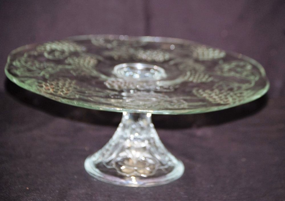 Clear Glass Pedestal Cake Plate Stand. with Embossed Fruit Designs. Kitchen Tool Decor. & Vtg. Clear Glass Pedestal Cake Plate Stand w Embossed Fruit Designs ...