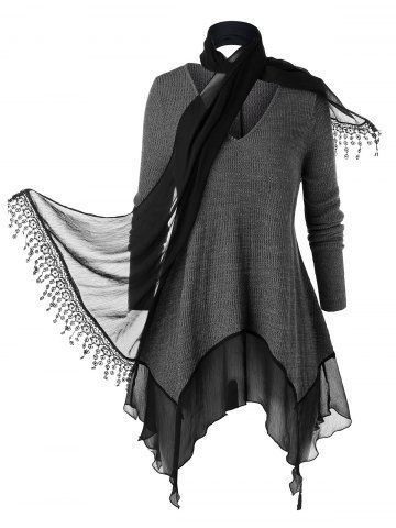 Photo of Plus Size Flounce Space Dye Knitwear With Scarf