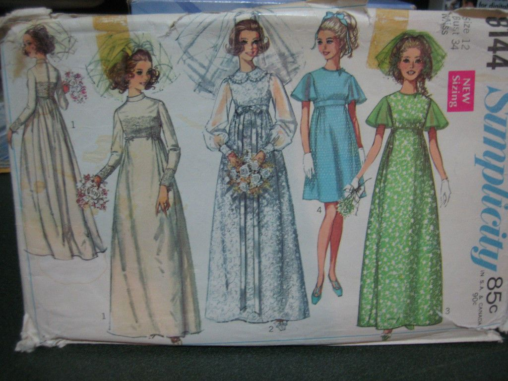 Vintage 1969 Simplicity #8144 Bridal/Bridesmaid Dress Pattern - Size 12