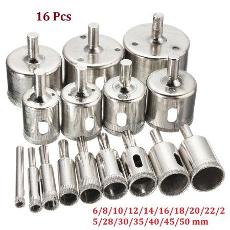 16PCS Drill Bit Tool Diamond Hole Saw Set Cutter 6-50mm For Tile Ceramic Glass