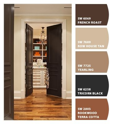 Doing this at a clients now also painting the trim dark for Paint colors with brown trim