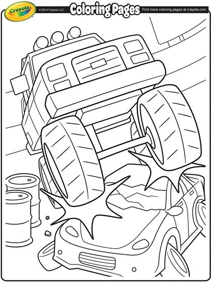 Monster Truck Crushing A Car On Crayola Com Monster Truck Coloring Pages Monster Truck Birthday Truck Coloring Pages