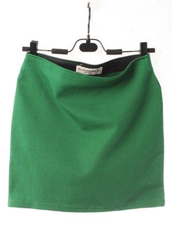 Green Above Knee Skinny Cotton Blend Skirt