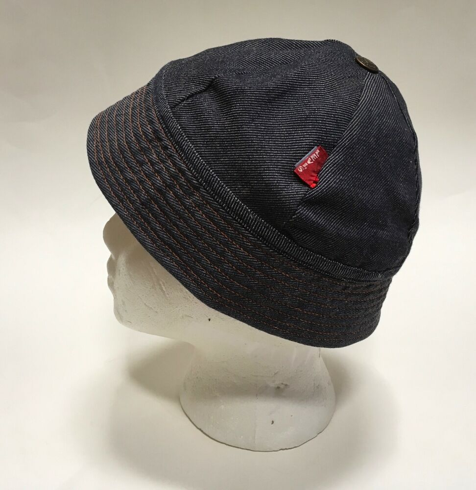 "31618e5e204 Vtg Levis Big E Red Tab Denim Bucket Hat Reversible Streetwear Fisherman Cap  21"""
