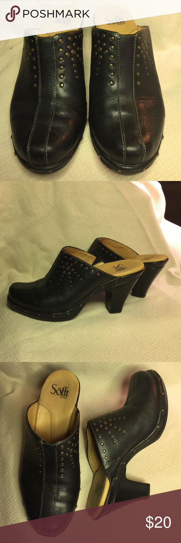 Black Leather Mules / Clogs by Sofft, 7.5M Super comfy. Elegant yet casual design with metal stud detail offering just the right amount of edge. Size 7.5M and would fit a size 8M also.  Very gently walked condition. Sexy and comfortable. Sofft Shoes Mules & Clogs