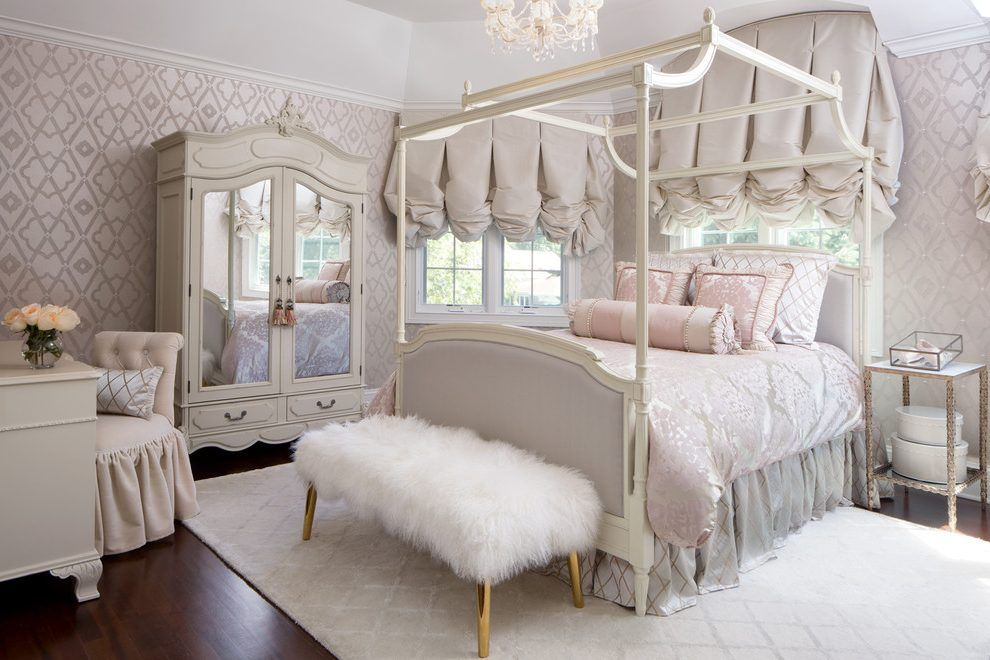 chicago white and pink bedroom with top side tables end