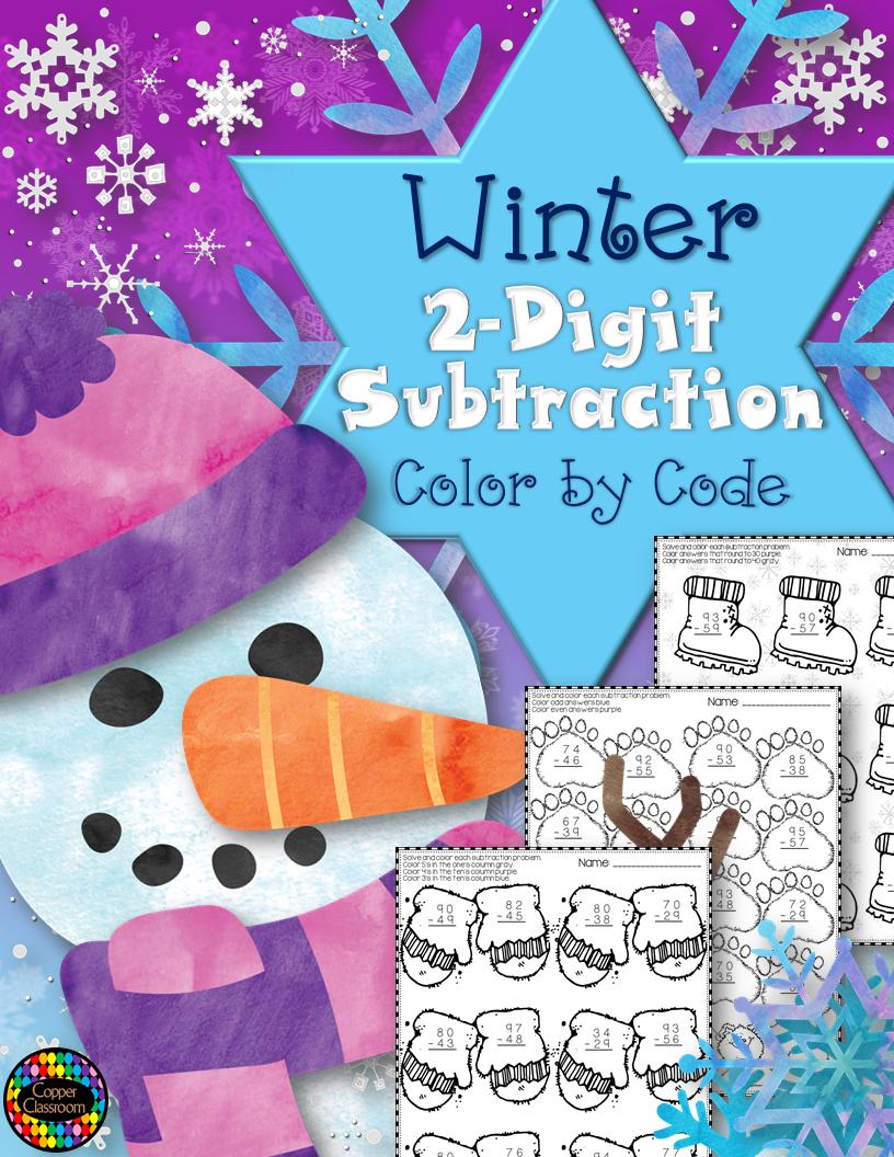 Winter Subtraction Worksheets Subtraction Subtraction Practice Math Resources [ 1056 x 816 Pixel ]