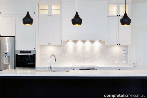 White Kitchen Black Benchtop this contemporary black and white kitchen design from the kitchen