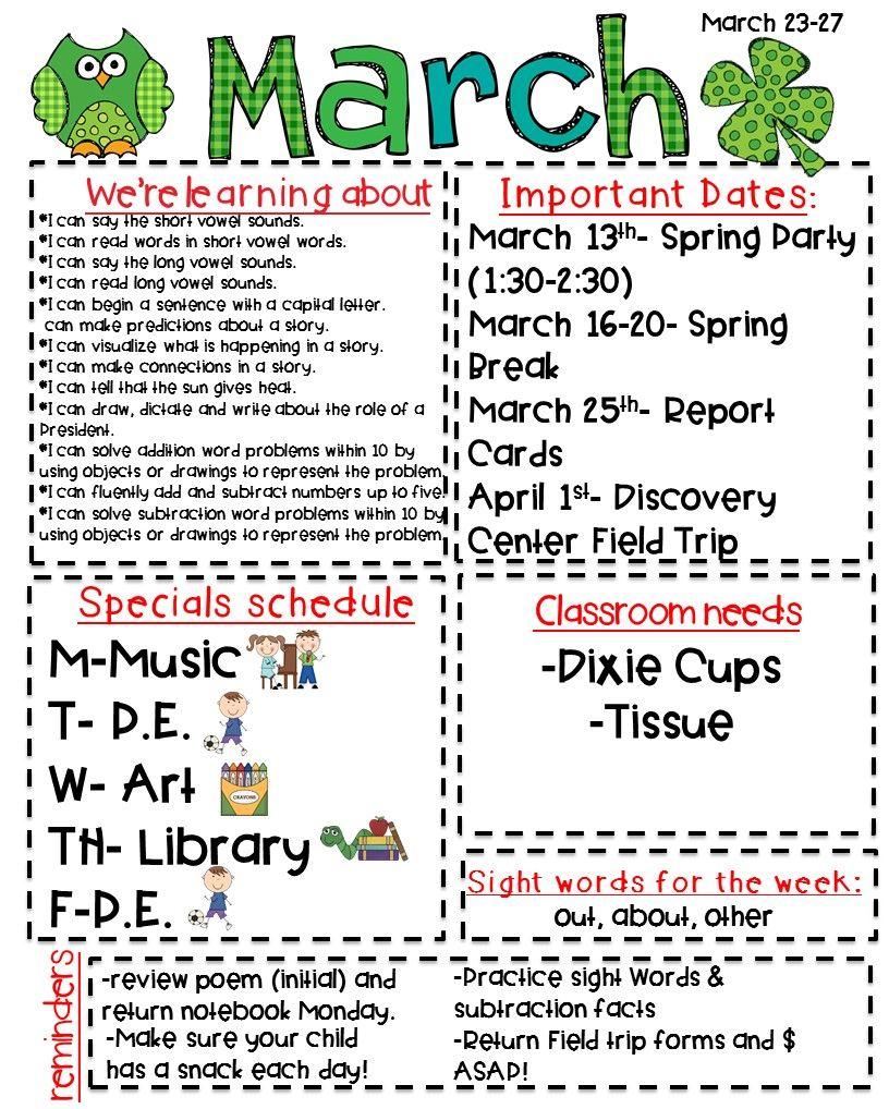 Classroom Newsletter Freebie Classroom Newsletter Preschool