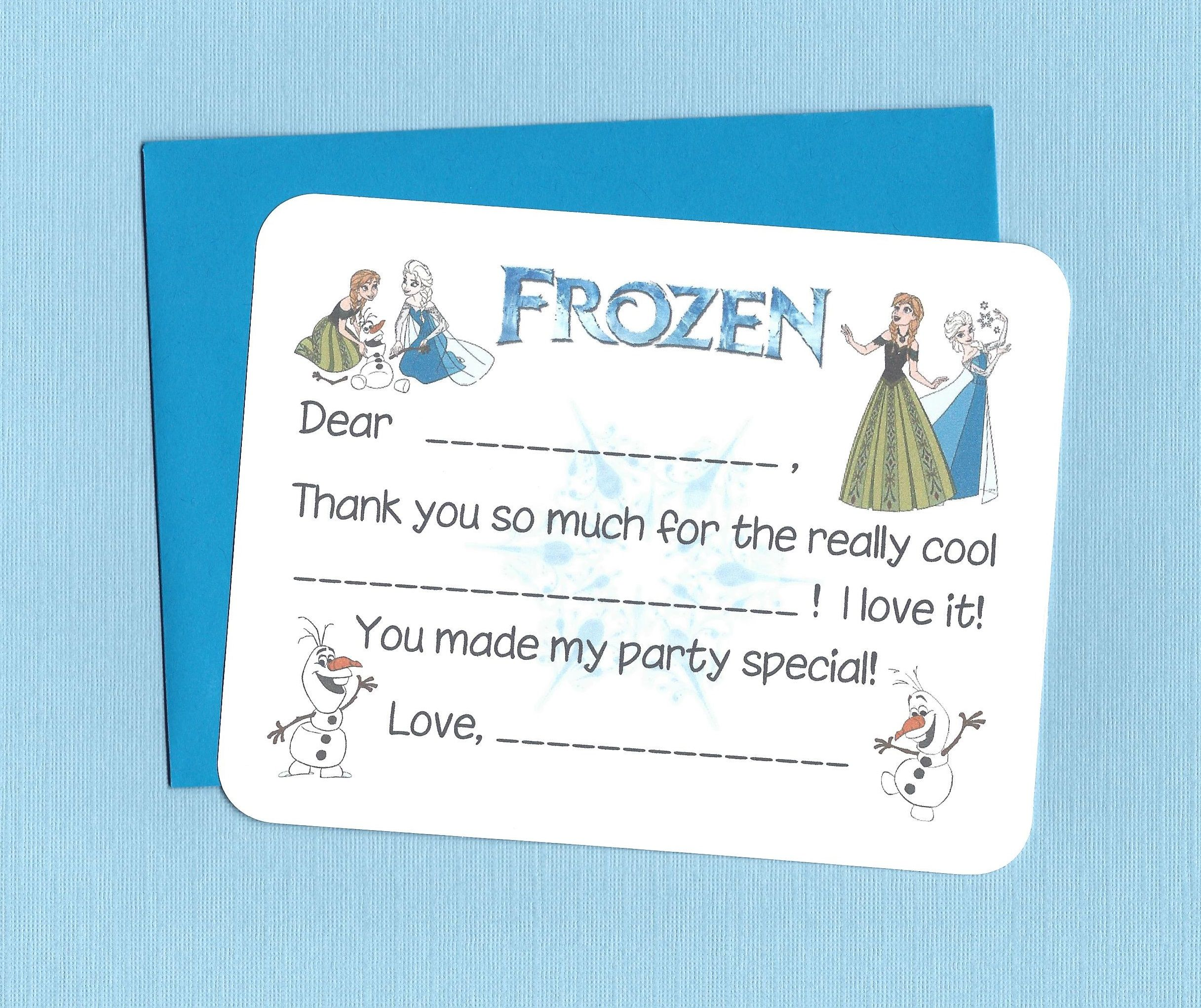 Frozen Thank you notes fill in the blank birthday cards easy