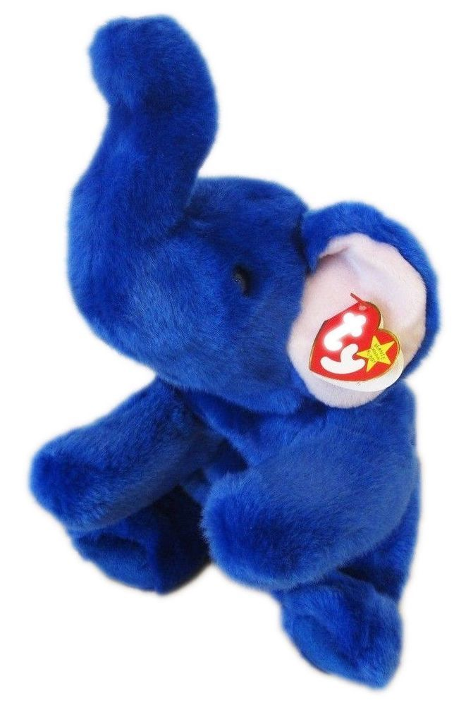d86395ceaa3 Ty Beanie Buddy Peanut the Royal Blue Elephant RARE Plush Stuffed Animal  Ty