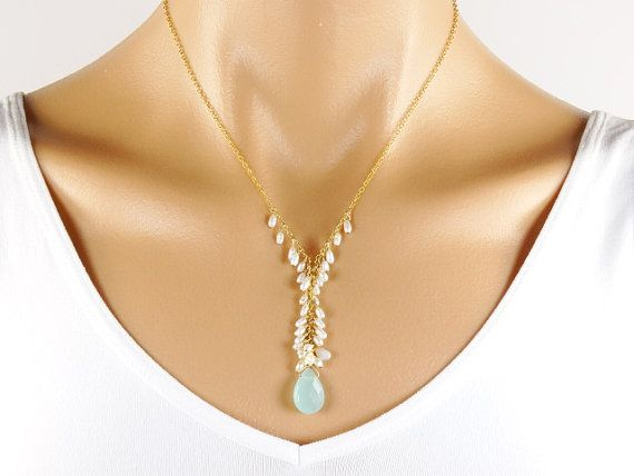 Quartz Pearls 14K Gold Filled necklace blue aqua white by Redondo