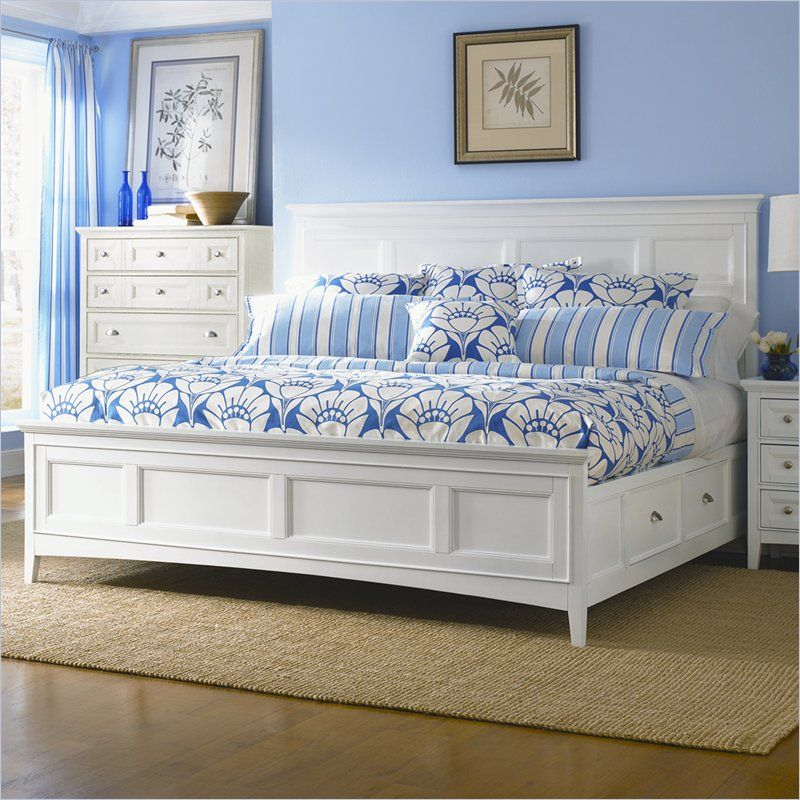 White Queen Size Bedroom Sets With, Lake Town Off White 3 Piece Queen Panel Bed With Storage