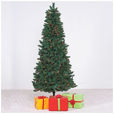 Slim+Christmas+Tree,+7\u0027+Pre-Lit+with+Multi-Colored+Lights+at+Big+