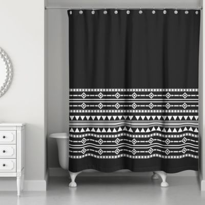 Boho Tribal Shower Curtain In Black White Black Shower Curtains
