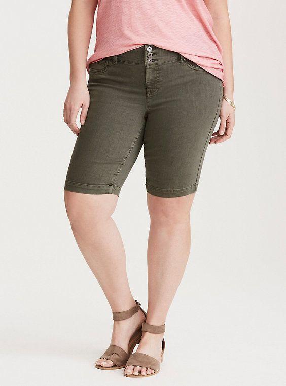 4d7456ce0f Jegging Bermuda Shorts - Olive Wash | Fashion | Bermuda Shorts ...