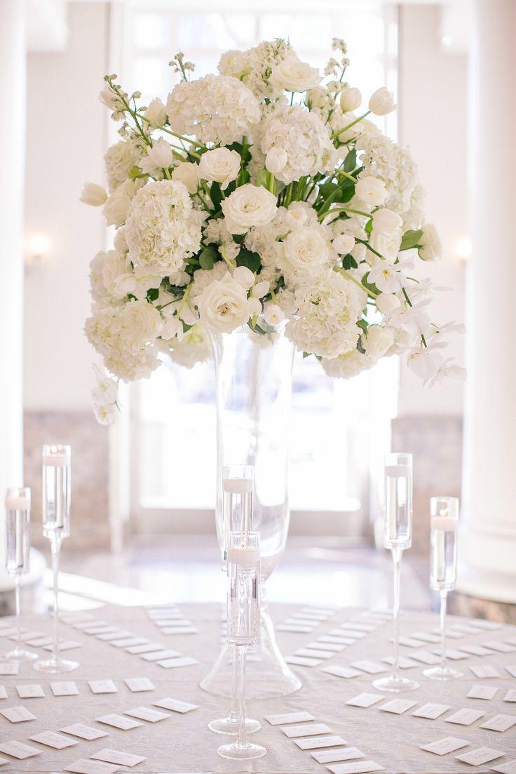 Fluted vase floral arrangement on Urn or stand for church florals ...