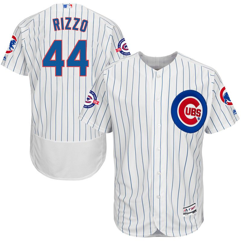 28d5fd75ccf Anthony Rizzo Chicago Cubs Majestic Home Flex Base Authentic Collection  Jersey with 100 Years at Wrigley Field Commemorative Patch - White Royal