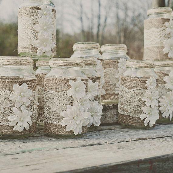toile de jute diy et mason jar dentelle convient 24 oz pots de ma on dentelle et de mariage de. Black Bedroom Furniture Sets. Home Design Ideas